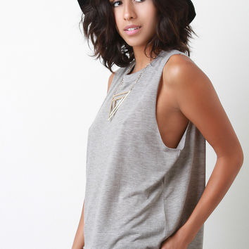 Jersey Knit Round Neck Muscle Top