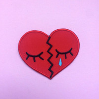 "sale- BROKEN HEART 2"" Iron on Patch"