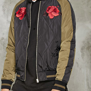 Embroidered Roses Bomber Jacket
