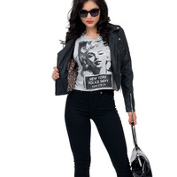 Grey Sleeveless Marilyn Graphic Crop Tank