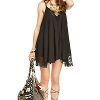 DailyLook: Lace Trim Trapeze Dress in Black XS - L