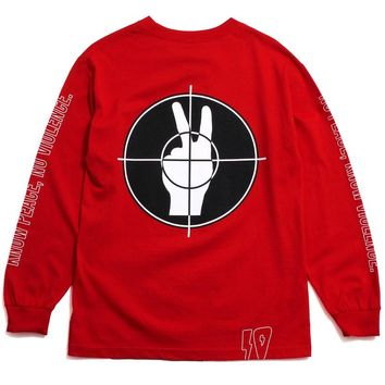 No Peace Longsleeve T-Shirt Red