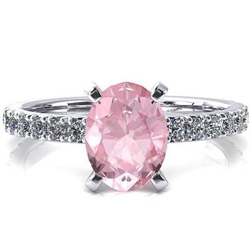 Nefili Oval Pink Sapphire 4 Prong 3/4 Eternity Diamond French Pave Engagement Ring