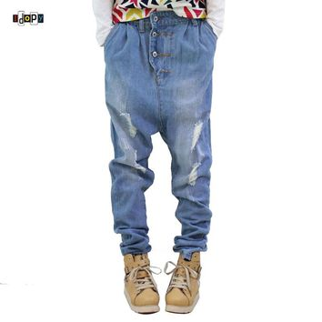 Hip Hop Men`s Jeans Low Crotch 100% Cotton Acid Washed Faded Blue Baggy Ripped Distressed Harem Jeans Streetwear For Dancer