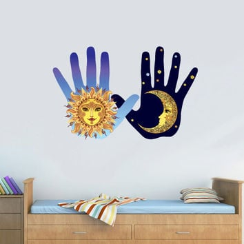 Full Color Full Color Wall Decal Mural Sticker Bedroom Living Room Poster Decor Art Hands Sun Moon Day Night  (Col678)
