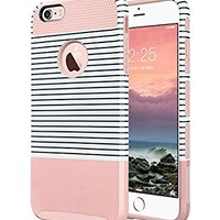 iPhone 6s Case, iPhone 6 Case, ULAK Hybrid Slim Case With Hard PC and Inner Rubber Cover for Apple iPhone 6S 4.7 Inch & iPhone 6 4.7 Inch Device (Rose Gold/Minimal Stripes)