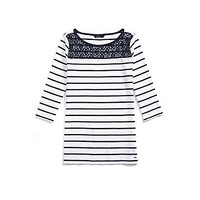 Lace Yoke Stripe Top | Tommy Hilfiger USA