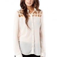 Porta Blouse in Ivory - ShopSosie.com
