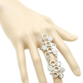 Clear Round Metal Cluster Armour Knuckle Ring