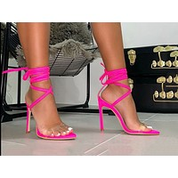 Fashion large-sized cross-strap-on pointed slim super high-heeled sandals