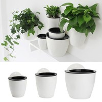 Self-Watering Flower Pot Wall Hanging Planter Plastic Nursery Pots Home Office Garden Balcony Decoration Macetas