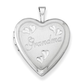 Sterling Silver Rhodium-plated 20mm D/C Grandma Heart Locket QLS411