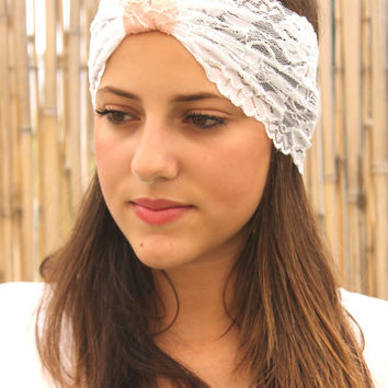 White and pink Headband, Turban Head Wrap, Women Hair Accessories, Lace headband, Elastic Headband, Wide Headband, Headbands