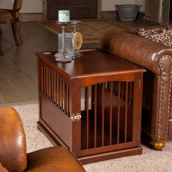 Wood And Bronze Pet Crate Table