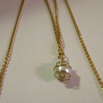 Wire Wrapped Bridal Pearl Necklace Floating Pearl Necklace Single Pearl Necklace gold Pearl necklace
