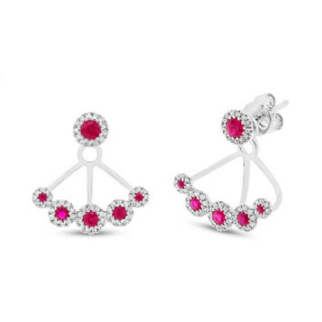 0.33ct Diamond & 0.58ct Ruby 14k White Gold Earring Jacket with Studs
