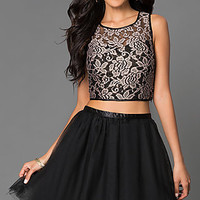 Short Two Piece Lace A-Line Dress 2215