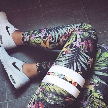 Women's Yoga Capris Pants Floral Print Fitness Leggings Fashion Trousers