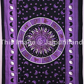 Twin CELESTIAL Sun Moon Stars Tapestry, Indian Tapestry, Zodiac Tapestry, Throw Bedspread, Picnic Blanket, Etchnic Decor, Wall Decor