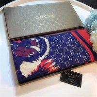 """Gucci"" Women Classic Fashion Multicolor Personality Tiger Head Bee Pattern Cashmere Scarf Shawl"