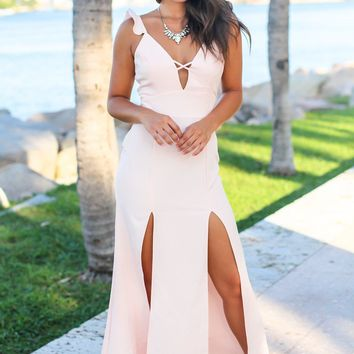 Blush Maxi Dress with Lace Up Back