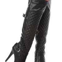 Black Faux Leather Quilted Knee High Platform Boots