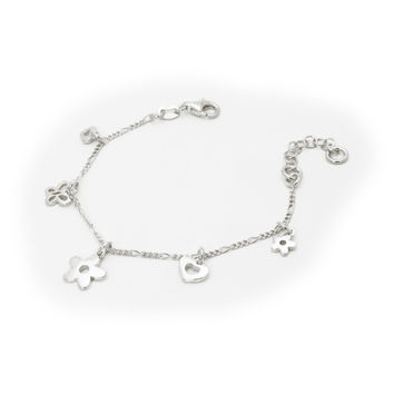 """Charms Bracelet for Kids Sterling Silve Flowers Butterfly and Heart Charm 6""""+ 1"""""""