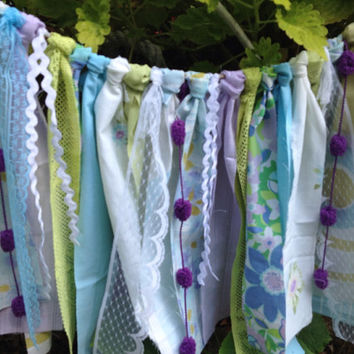 Ribbon Curtain Boho Gypsy Garland Banner Backdrop Aqua Lavender Purple Lime  Green Groovy Funky Fun Window Treatments~Draperies~Valance