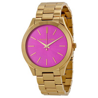 Michael Kors Runway Pink Dial Gold Tone Stainless Steel Ladies Watch MK3264