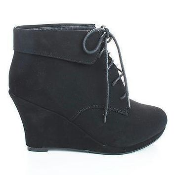 Max35 Black By Top Moda, Round Toe Lace Up Ankle Cuff Wedge Heel Booties