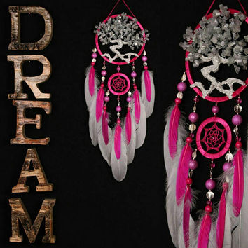 Dream Catcher Pink Dreamcatcher Gray pink Tree of life small Dream сatcher cat's eye gemstone dreamcatchers handmade gift gray cats eye