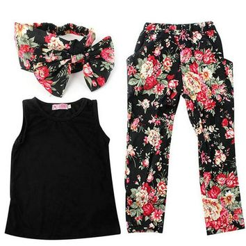 Floral Kids Girls Clothes Suit Summer Children Casual Clothing Costume Set Sleeveless Outfit + Headband For 3 4 5 6 7 8 Year