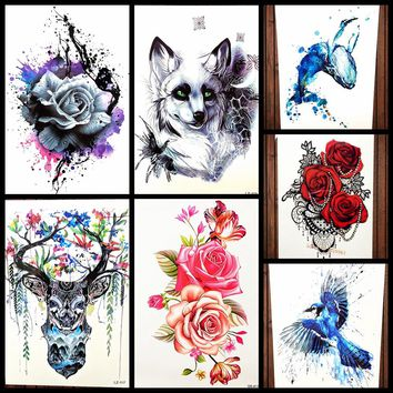 Sexy Red Rose Flower Temporary Tattoo Stickers Women Body Art Tattoo Arm Sleeve 21x15CM Large Fake Flash Waterproof Tatoo Henna