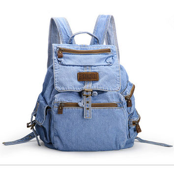 Women's Backpack Denim Backpack Teenage Girls Vintage Travel Bag Shoulder Bags
