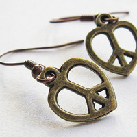 Peace Love Earrings peace and love heart jewelry by RobertaValle