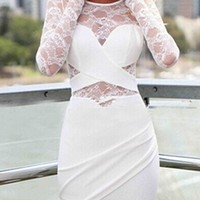 White Sheer Mesh Lace Cut Out Long Sleeve Scoop Neck Cross Wrap Asymmetric Bodycon Mini Dress