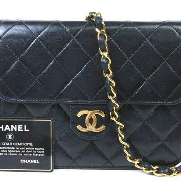 Authentic CHANEL Mini Matelasse Quilted Chain Shoulder Bag LAMBSKIN Vintage r792