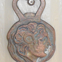 Vintage Bronze Bottle Opener Made in Greece, Rustic Barware Two Sided Etched Bronze Raised Relief, copper and brass patina