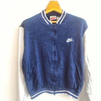 Vintage Nike Retro Sport Jacket Zip Up Sweater Sweatshirt Bomber Jacket Authentic Sport Swoosh Winbreaker Varsity Jacket Hip Hop Swag