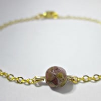Purple and Gold Bead Bracelet