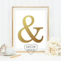 ampersand and sign gold foil print gold foil poster wall art typography print wall decor gold decor gold office art gold home decor