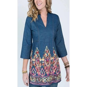 Uncle Frank Denim Embroidered Tunic
