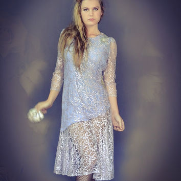 Vintage lace party dress / lavendar sheer lace overlay and appliques / girly gatsby grunge bridesmaid gown prom frock
