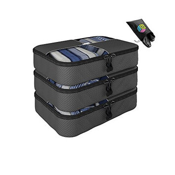Father's Day Gift- Packing Cubes - 4 pc Value Set Luggage Organizer - 3 Medium + Bonus Shoe Bag Included - Lifetime Guarantee Travel Accessories