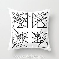 Geometric Modern Throw Pillow 16x16 Decorative Cover Mod Pop Art White Black Shapes Abstract Gift Constellation Lines Scribbles Eclectic Fab