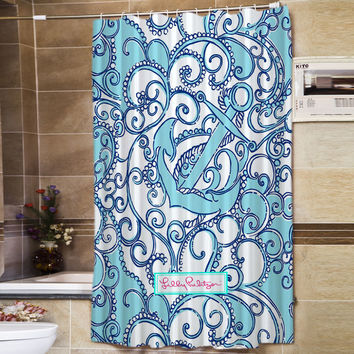 "Lilly Pulitzer Anchor Pattern Best Quality Design Shower Curtain 60"" x 72"""