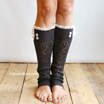 NEW YEARS SALE The Lacey Lou Graphite Open-work Leg Warmers w/ ivory knit lace trim & buttons - Legwarmers boot socks (item no. 3-23)