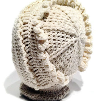 Outlander Crocheted Cream Baby Bonnet, Size 0 - 6 months Mandy Hat Photo Prop Christening Naming Day FREE SHIPPING