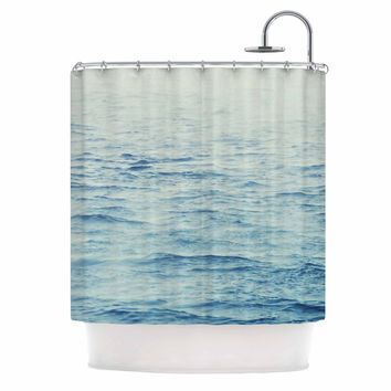 "Debbra Obertanec ""Foggy Morning Ocean"" Coastal Blue Shower Curtain"