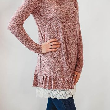 Lace Bottom Tunic - Burgundy
